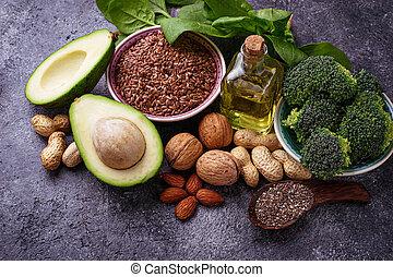 Concept of healthy food. Vegan fat sources - Vegan fat...
