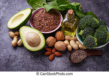 Concept of healthy food. Vegan fat sources - Vegan fat...