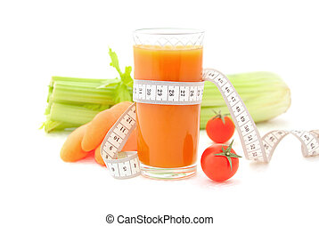 Concept of healthy lifestyle and diet - Glass of vegetable ...