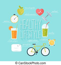 Concept of healthy lifestyle infographics. Icons for web: fitness, healthy food and metrics. Flat design vector illustration.