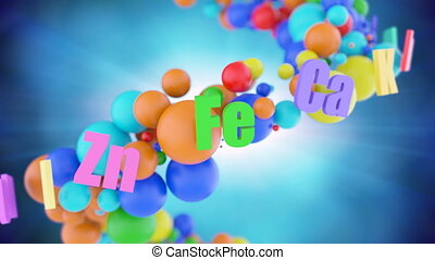 Concept of healthy organism with colorful vitamins