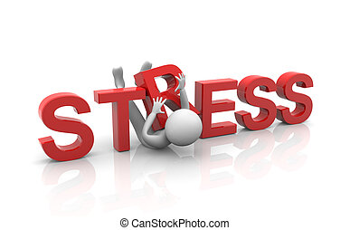 Concept of heavy stress - 3d businessman in heavy stress