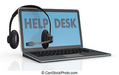 concept of help desk service - one computer notebook with...