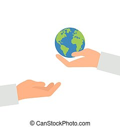 Concept of heritage earth for future generations. Adult pass hands globe in children s hands