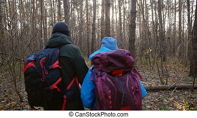 Concept of hiking and nature travel. Young couple of hikers...