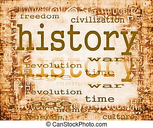 concept of history on old paper background with ornaments