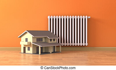 concept of home heating - one sunny room with a radiator and...