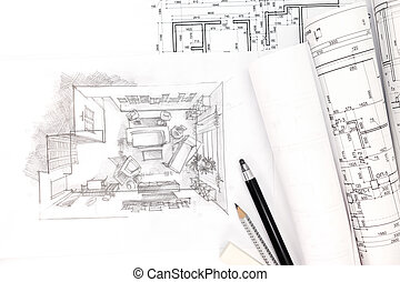 concept of home renovation with architectural drawing and blueprint rolls