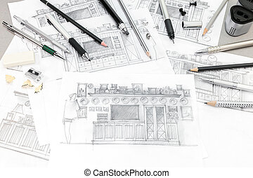 concept of home renovation with interior sketches and drawing tools