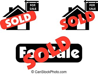 Concept of house for sale and sold in real estate market
