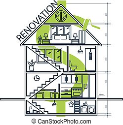 Concept of house remodeling infographic. Vector illustration