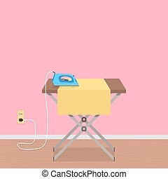 concept of house work with ironing board and clothes iron....