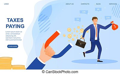 Concept of income taxes paying. Businessman infringing law. Businessman avoiding taxation. Revenue agency, collector chasing employee. Flat vector illustration. Website, webpage, landing page template