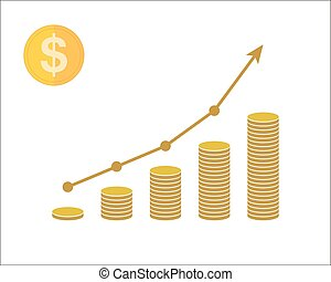 Concept of income with coins and arrow up. Vector illustration.