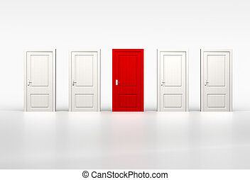 Concept of individuality and opportunity. Red door in row of...