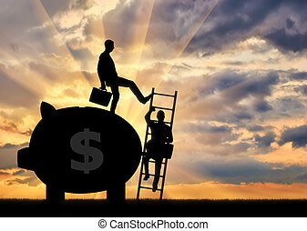 Silhouette of a businessman climbs the stairs, and another businessman standing with a piggy bank pushes this ladder. The concept of inequality and injustice