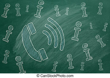 Concept of information support, customer support. Chalk drawn.
