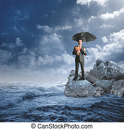 Concept of insurance protection with agent on the rocks