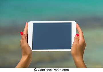 Concept of internet and communication. blank empty tablet...