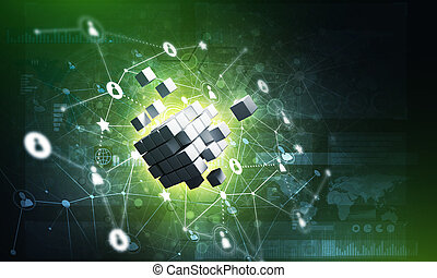 Concept of Internet and networking with digital cube figure on dark background