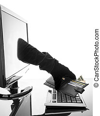 Concept of internet crime - Thief with glove stealing wallet...