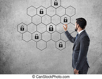 Concept of internet cyber security network with lock