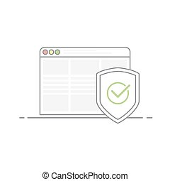 Concept of Internet security. Shield image with a green check mark in the browser background. Protection against viruses and malware. Vector illustration in linear style isolated on white background.