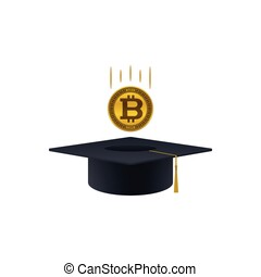 Concept of invest in education with bicoin and graduation...