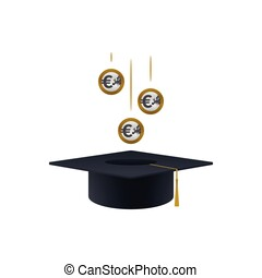 Concept of invest in education with euro coins and...