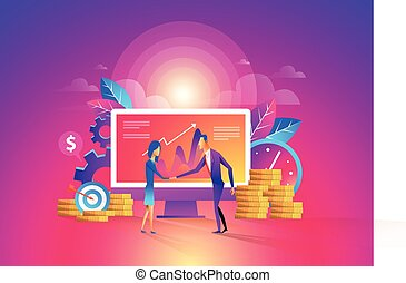 Concept of investment in the business. Two businessmen shake hands, signing an agreement. Vector illustration in a flat style.