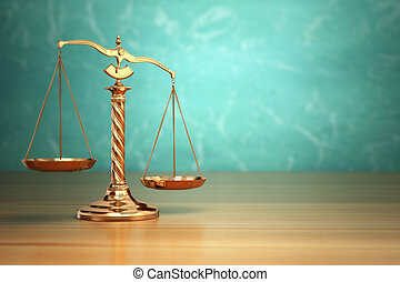 Concept of justice. Law scales on green background.