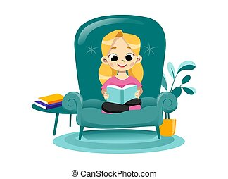 Concept Of Kids Creativity, Promotional Children Development, Creative Educational Art And Crafts Center. Happy Girl Read Book Sitting In Big Armchair. Creative Class. Flat Style. Vector Illustration