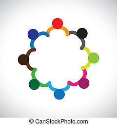 Concept of kids playing, teamwork and diversity. The graphic contains children holding hands & forming a circle. This can also represent concept of corporate team and teamwork & also people diversity