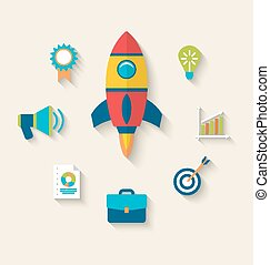 Concept of launch a new innovation product on a market, flat icons with long shadows style