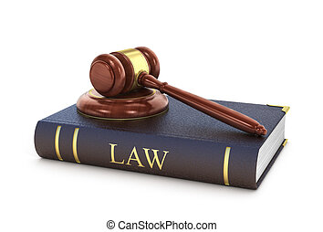 Concept of law. The wooden gavel with book of law on a white background.