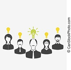Concept of leadership and new idea. Business people with light b