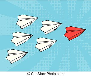 Concept of leadership. business strategy. Red paper airplane with white paper airplanes behind in blue sky. Pop art
