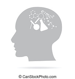 concept of learning, head and science icons (vector)