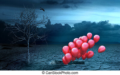 Concept of life after death. Air balls fly out of the grave ...