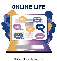 Concept of life online. You can get everything staying at home online. laptop, choosing a service, creativ gradient illustration