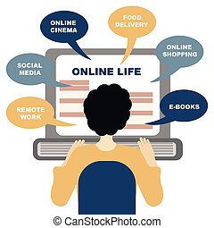 Concept of life online. You can get everything staying at home online. Man sits in front of his laptop, choosing a service.