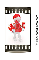 Concept of life-saving with 3d man. The film strip