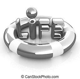 Concept of life-saving.3d illustration. Global