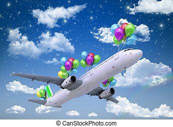 concept of light hops a plane flies on balloons on a background of the sky 3d render