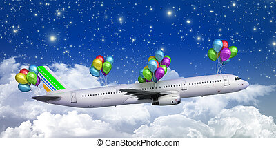concept of light hops a plane flies on balloons on a background of the sky 3d render illustration