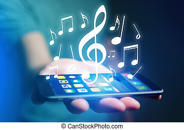 Concept of listenning music on a device - Technology concept...