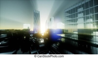 concept of London city at sunset