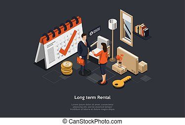 Concept Of Long Term Real Estate Rental, Signing Agreement. Realtor And Tenant Man And Woman Have Made Deal Of Apartment Or House Rent. Real Estate Agency Service. Isometric 3D Vector Illustration.