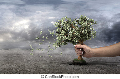 Concept of loss your money. Hand picks the money tree is...