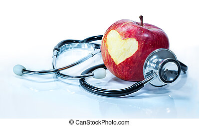 concept of love for health - apple with stethoscope